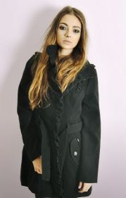 Ladies Black Military Style Coat with Frills
